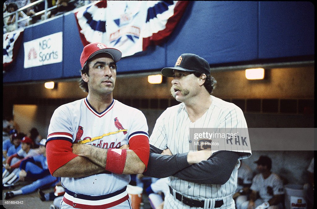 Jack Clark of the St Louis Cardinals talks with Rich Gossage of the San Diego Padres before the 56th Major League Baseball AllStar Game against the...