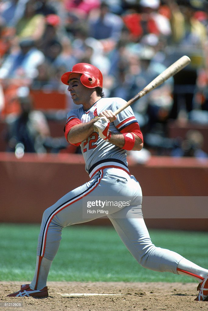 Jack Clark of the St Louis Cardinals watches the flight of the ball as he follows through on a swing during a MLB season game circa August of 1985...