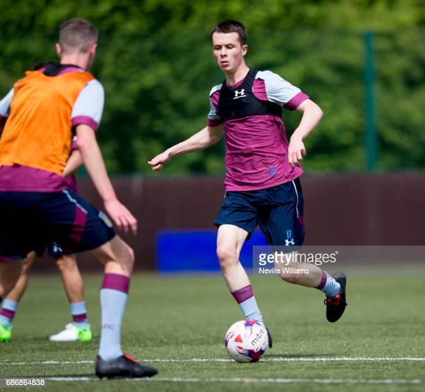 Jack Clarke of Aston Villa in action during a Aston Villa U23's training session at the club's training ground at Bodymoor Heath on May 22 2017 in...