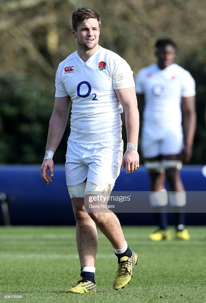Jack Clifford looks on during the England training session held at Pennyhill Park on February 12, 2016 in Bagshot, England.