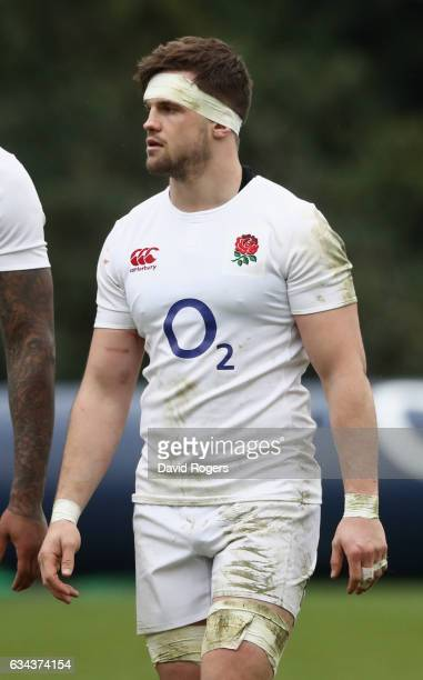 Jack Clifford looks on during the England training session held at Pennyhill Park on February 9 2017 in Bagshot England