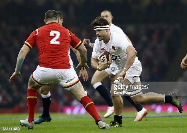Jack Clifford of England takes on Ken Owens during the RBS Six Nations match between Wales and England at the Principality Stadium on February 11...
