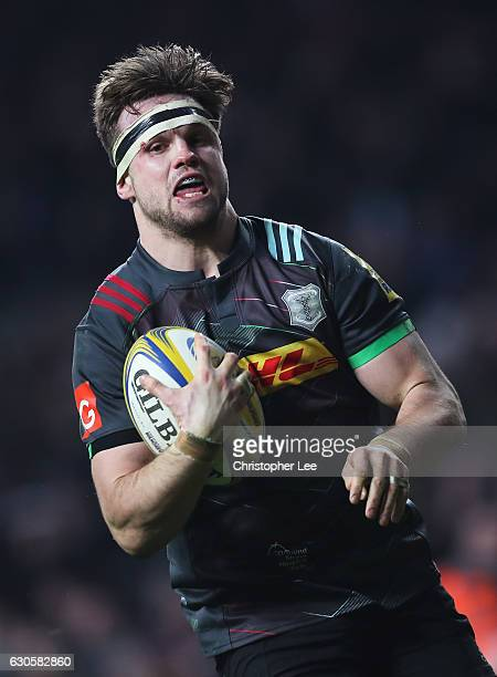 Jack Clifford of Harlequins celebrates scoring his team's second try during the Aviva Premiership Big Game 9 match between Harlequins and Gloucester...