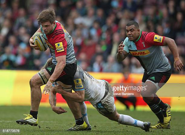Jack Clifford of Harlequins in action during the Aviva Premiership match between Harlequins and Newcastle Falcons at Twickenham Stoop on April 2 2016...