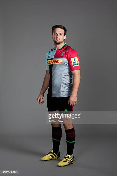 Jack Clifford of Harlequins poses for a picture during the Harlequins photoshoot for BT Sport at Surrey Sport Park on August 18 2015 in Guildford...