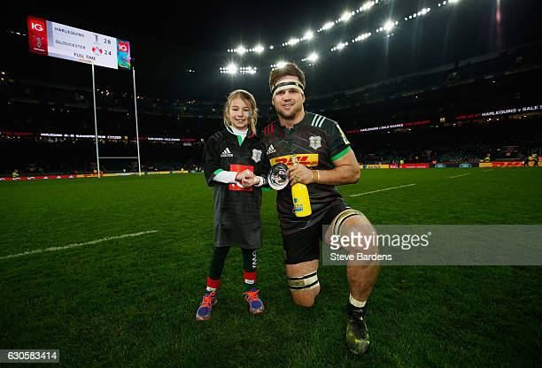 Jack Clifford of Harlequins poses with his IG Man of the Match award after the Aviva Premiership Big Game 9 match between Harlequins and Gloucester...