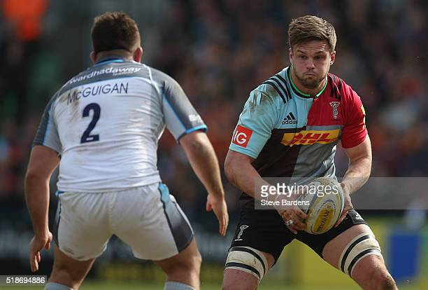 Jack Clifford of Harlequins takes on George McGuigan of Newcastle Falcons during the Aviva Premiership match between Harlequins and Newcastle Falcons...