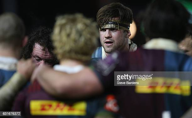 Jack Clifford of Harlequins talks to his team mates after the European Rugby Challenge Cup match between Harlequins and Edinburgh Rugby at Twickenham...