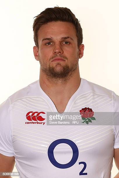 Jack Clifford poses during the England EPS Six Nations Squad Portrait session at Pennyhill Park on January 25 2016 in Bagshot England