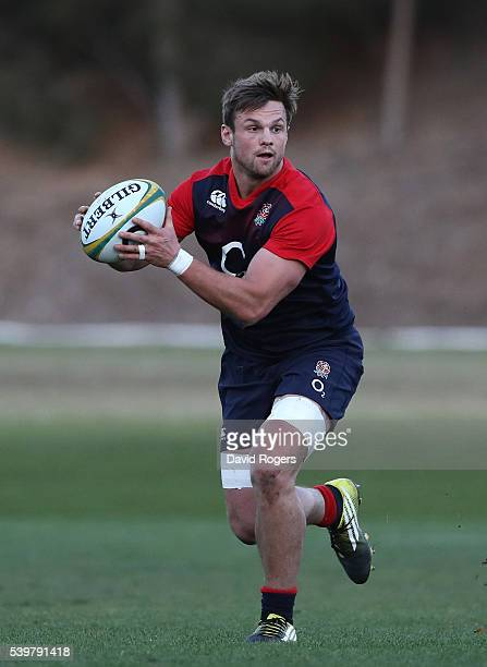 Jack Clifford runs with the ball during the England training session held at Scotch College on June 13 2016 in Melbourne Australia