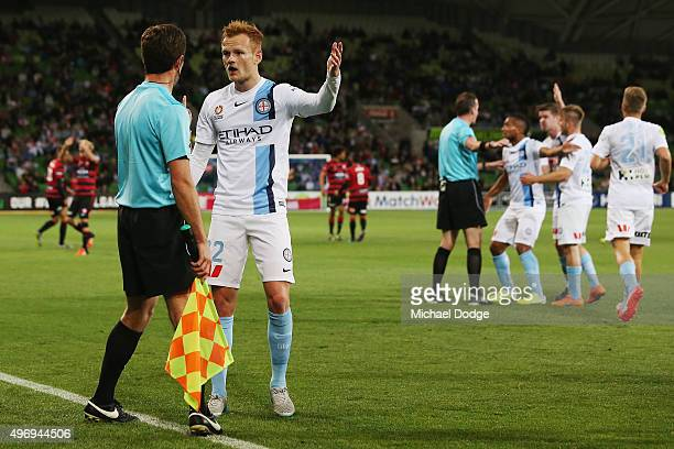 Jack Clisby of the City calls for offside after Frederico Piovaccari of the Wanderers kicked a goal during the round six ALeague match between...
