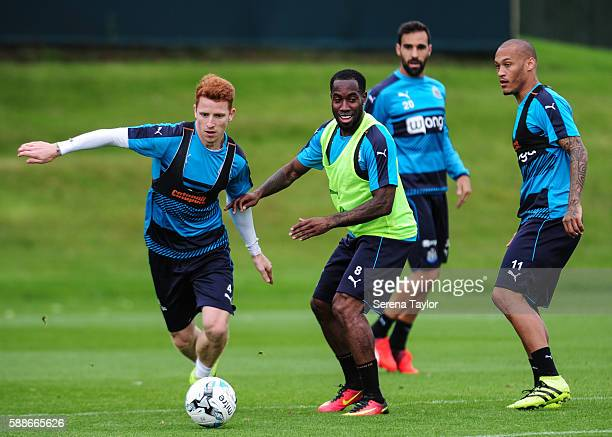 Jack Colback controls the ball whilst Vurnon Anita looks to challenge during the Newcastle United Training Session at The Newcastle United Training...
