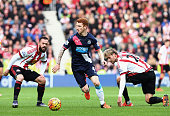 Jack Colback of Newcastle United controls the ball during the Barclays Premier League match between Sunderland and Newcastle United at Stadium of...