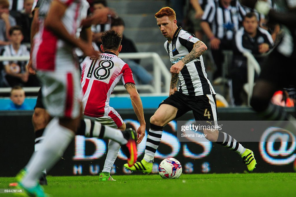 Jack Colback of Newcastle United runs with the ball during the EFL cup between Newcastle United and Cheltenham Town at StJames' Park on August 23 in...