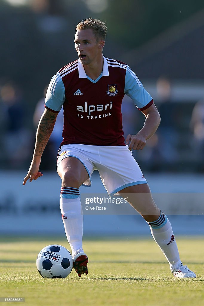 Jack Collinson of West Ham United during the pre season friendly match between Boreham Wood FC and West Ham United at Meadow Park on July 10 2013 in...