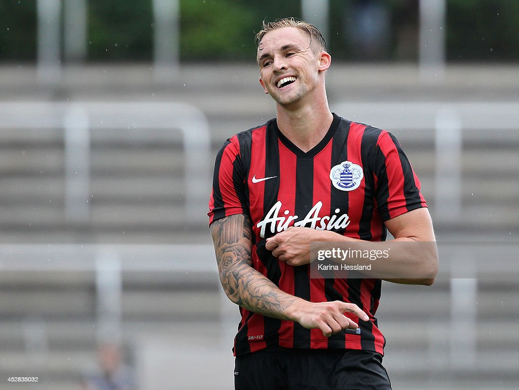 Jack Collison of Queens Park Rangers reacts during the Friendly Match between RasenBallsport Leipzig and Queens Park Rangers at Stadion der...