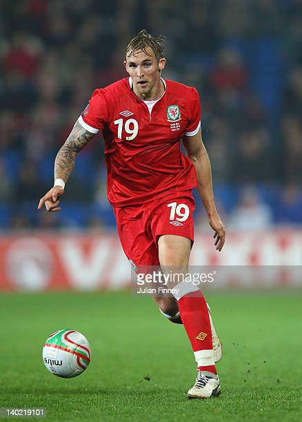 Jack Collison of Wales in action during the Gary Speed Memorial International Match between Wales and Costa Rica at the Cardiff City Stadium on...