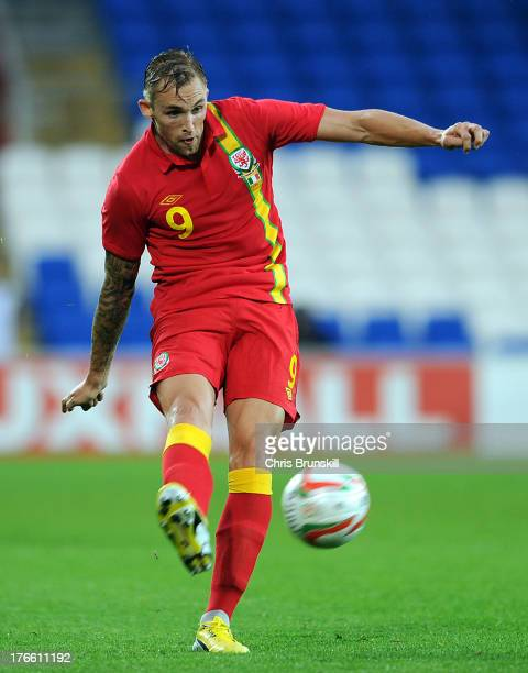 Jack Collison of Wales in action during the International Friendly match between Wales and Ireland at Cardiff City Stadium on August 14 2013 in...