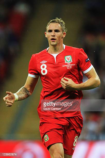 Jack Collison of Wales in action during the UEFA EURO 2012 group G qualifying match between England and Wales at Wembley Stadium on September 6 2011...