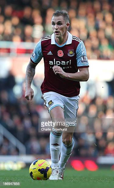 Jack Collison of West Ham attacks during the Barclays Premier League match between West Ham United and Aston Villa at Upton Park on November 02 2013...