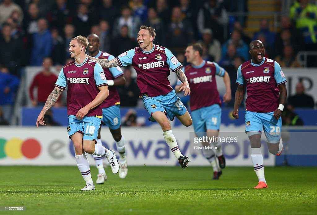 Jack Collison of West Ham celebrates his goal during the Npower Championship Playoff Semi Final 1st leg match between Cardiff City and West Ham...
