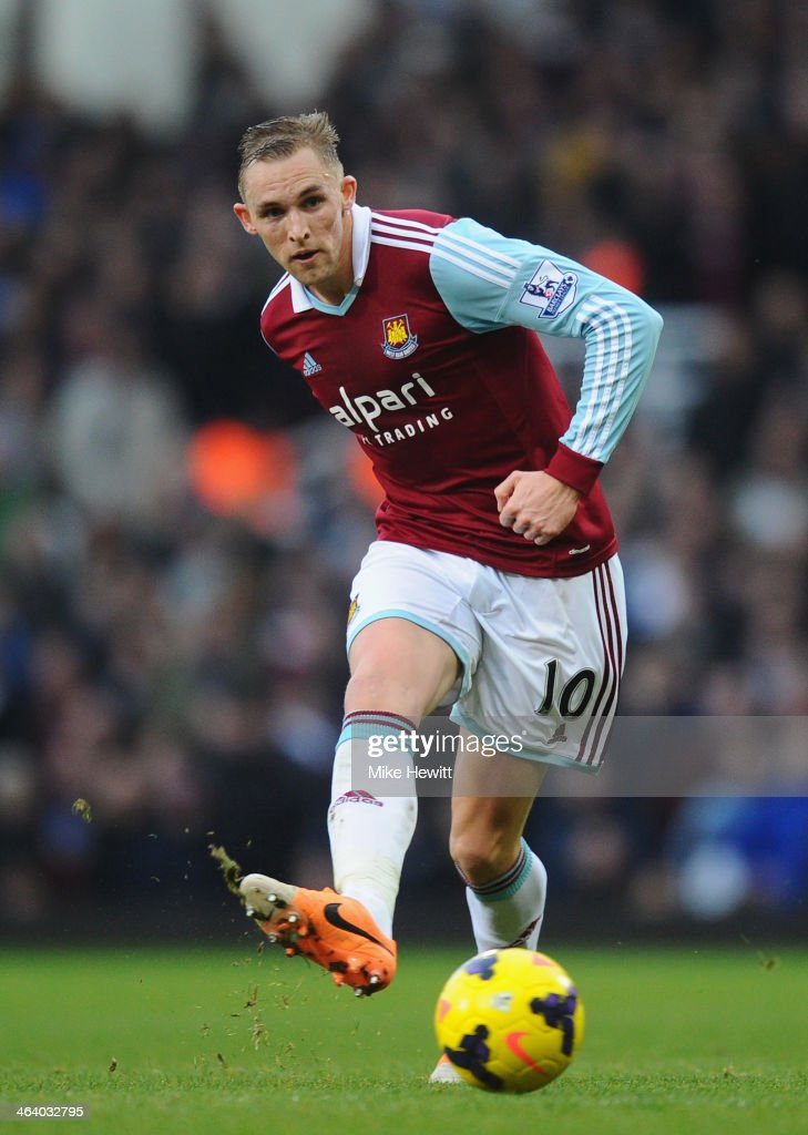 Jack Collison of West Ham in action during the Barclays Premier League match between West Ham United and Newcastle United at Boleyn Ground on January...