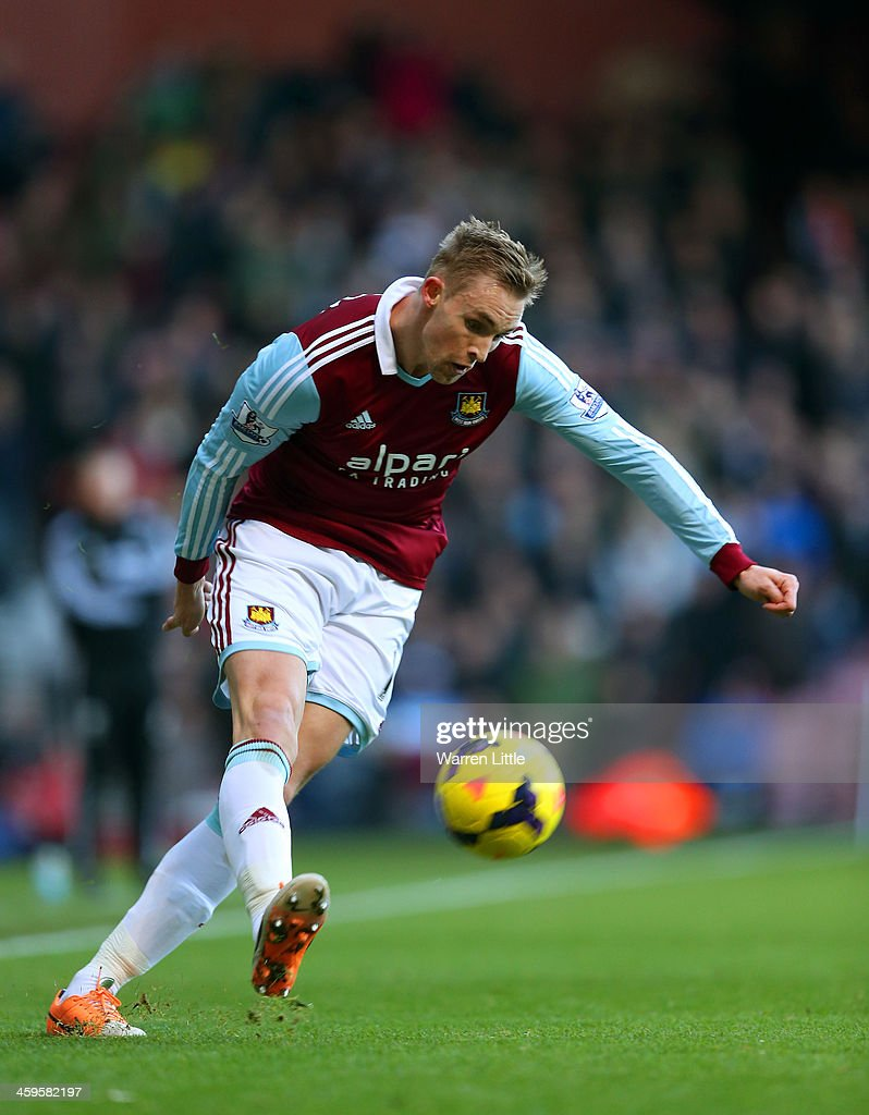 Jack Collison of West Ham on the ball during the Barclays Premier League match between West Ham United and West Bromwich Albion at Boleyn Ground on...