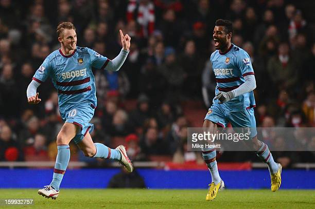 Jack Collison of West Ham United celebrates scoring the opening goal with Ricardo Vaz Te of West Ham United during the Barclays Premier League match...