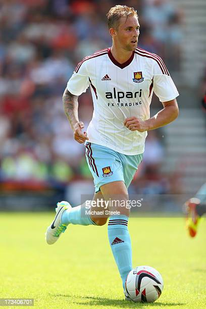Jack Collison of West Ham United during the Pre Season Friendly match between Bournemouth and West Ham United at Goldsands Stadium on July 13 2013 in...
