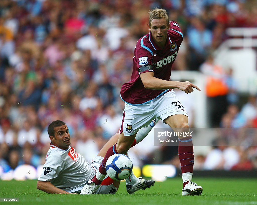 Jack Collison of West Ham United evades a challenge during the Bobby Moore Cup between West Ham United and Napoli at Upton Park on August 8 2009 in...