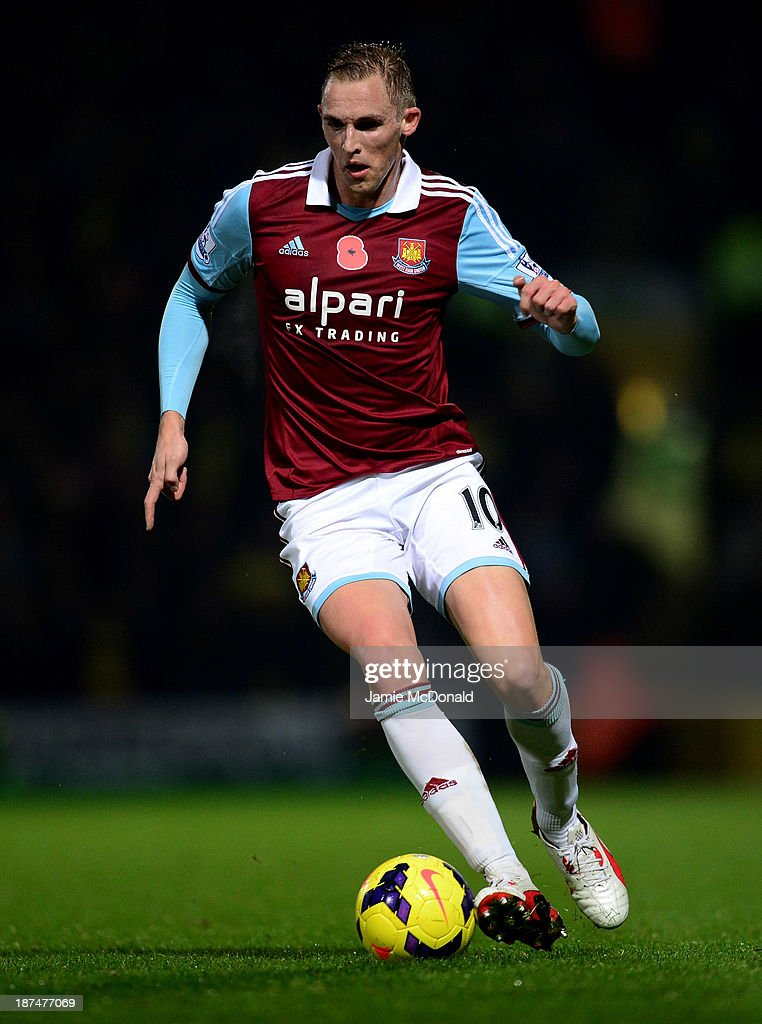 Jack Collison of West Ham United in action during the Barclays Premier League match between Norwich City and West Ham United at Carrow Road on...