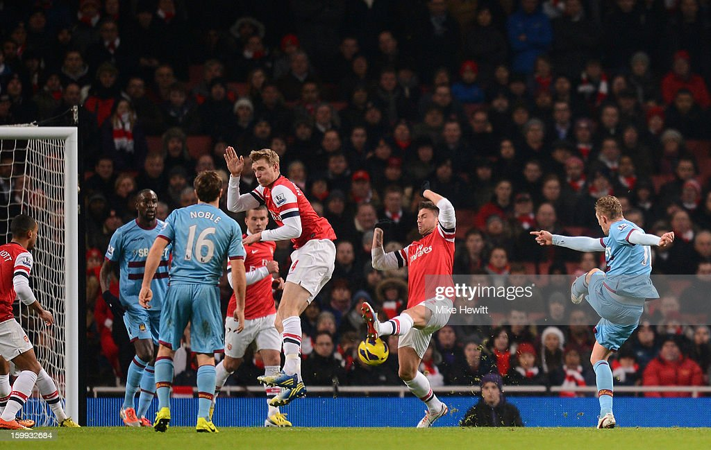<a gi-track='captionPersonalityLinkClicked' href=/galleries/search?phrase=Jack+Collison&family=editorial&specificpeople=4431214 ng-click='$event.stopPropagation()'>Jack Collison</a> of West Ham United scores the opening goal during the Barclays Premier League match between Arsenal and West Ham United at Emirates Stadium on January 23, 2013 in London, England.
