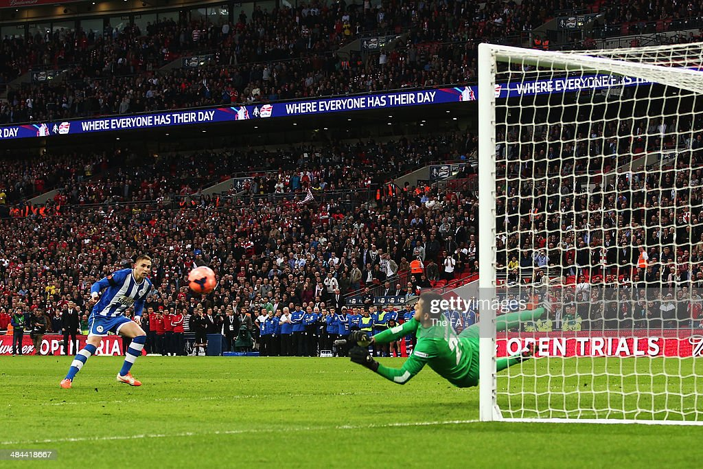 Jack Collison of Wigan Athletic fails to score a penalty in the penalty shootout during the FA Cup SemiFinal match between Wigan Athletic and Arsenal...