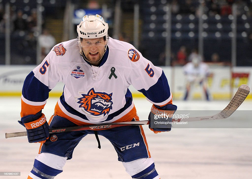 Jack Combs #5 of the Bridgeport Sound Tigers waits for a face off during an American Hockey League game against the Adirondack Phantoms on March 2, 2013 at the Webster Bank Arena at Harbor Yard in Bridgeport, Connecticut.