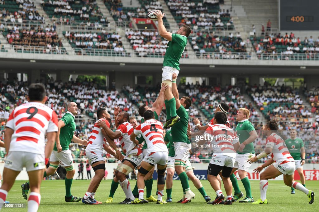 Jack Conan of Ireland catches the lineout ball during the international rugby friendly match between Japan and Ireland at Shizuoka Stadium on June 17, 2017 in Fukuroi, Japan.