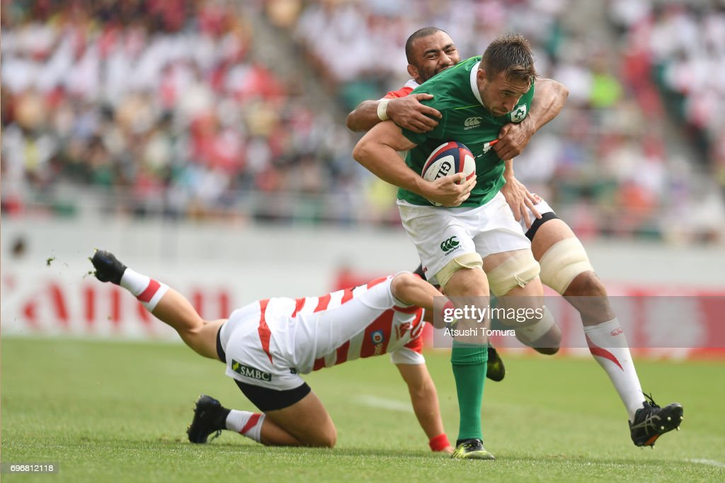 Jack Conan of Ireland runs with the ball during the international rugby friendly match between Japan and Ireland at Shizuoka Stadium on June 17, 2017 in Fukuroi, Japan.