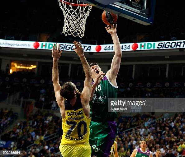 Jack Cooley #45 of Unicaja Malaga in action during the Turkish Airlines Euroleague Basketball Top 16 Round 7 game between Fenerbahce Istanbul v...