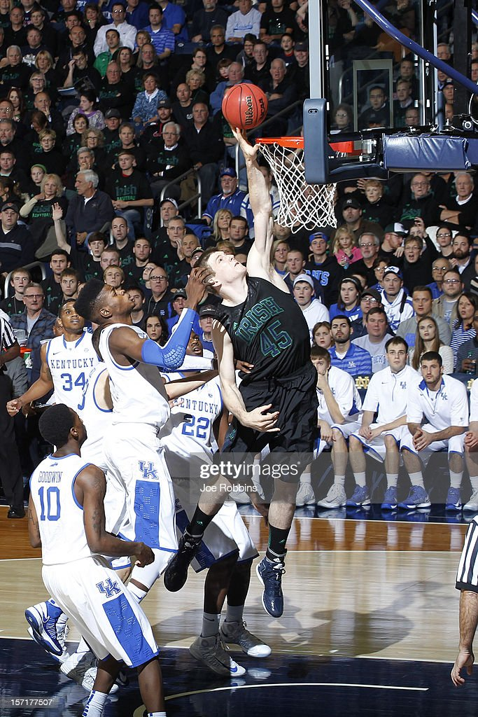 Jack Cooley #45 of the Notre Dame Fighting Irish goes to the basket against <a gi-track='captionPersonalityLinkClicked' href=/galleries/search?phrase=Nerlens+Noel&family=editorial&specificpeople=7880842 ng-click='$event.stopPropagation()'>Nerlens Noel</a> #3 of the Kentucky Wildcats during the game at Purcell Pavilion at the Joyce Center on November 29, 2012 in South Bend, Indiana. Notre Dame won 64-50.