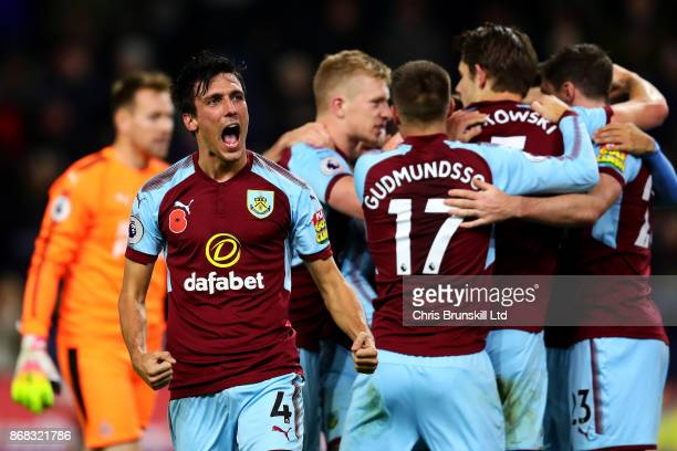 Jack Cork of Burnley celebrates his side's opening goal during the Premier League match between Burnley and Newcastle United at Turf Moor on October...
