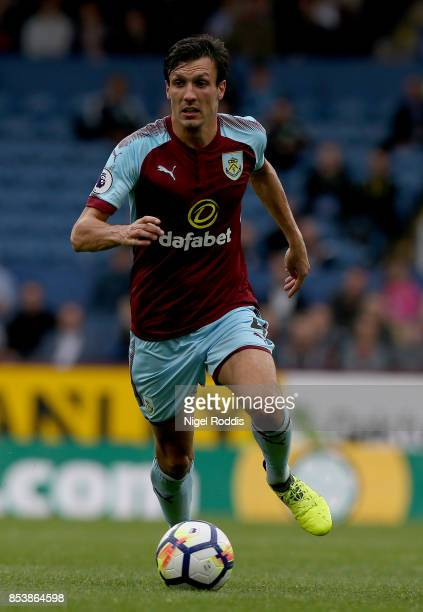 Jack Cork of Burnley during the Premier League match between Burnley and Huddersfield Town at Turf Moor on September 23 2017 in Burnley England