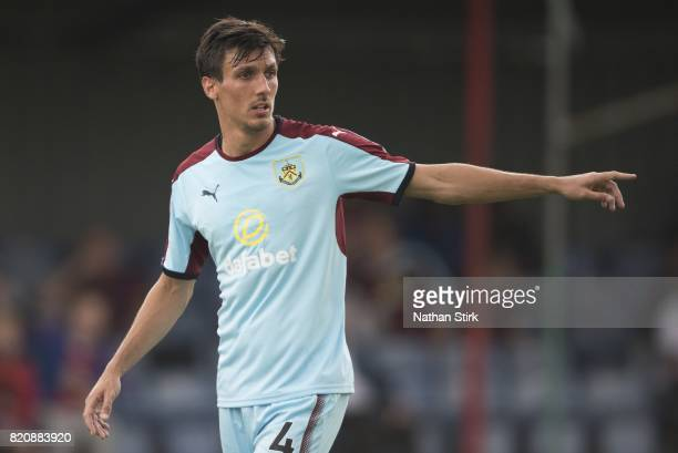 Jack Cork of Burnley gives instructions to his team mates during a pre season friendly match between Alfreton Town and Burnley at North Street on...