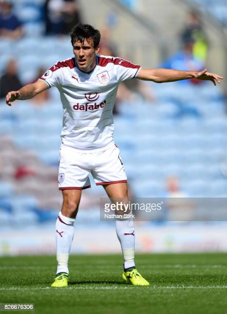 Jack Cork of Burnley in action during the preseason friendly match between Burnley and Hannover 96 at Turf Moor on August 5 2017 in Burnley England