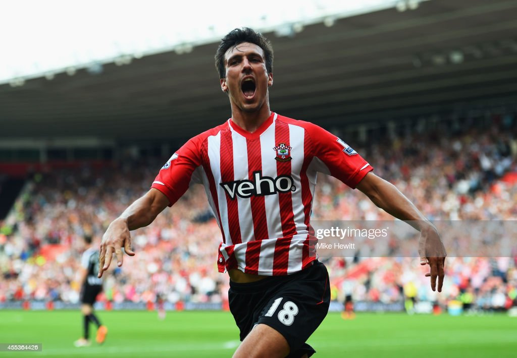 <a gi-track='captionPersonalityLinkClicked' href=/galleries/search?phrase=Jack+Cork&family=editorial&specificpeople=4206991 ng-click='$event.stopPropagation()'>Jack Cork</a> of Southampton celebrates as he scores their third goal during the Barclays Premier League match between Southampton and Newcastle United at St Mary's Stadium on September 13, 2014 in Southampton, England.