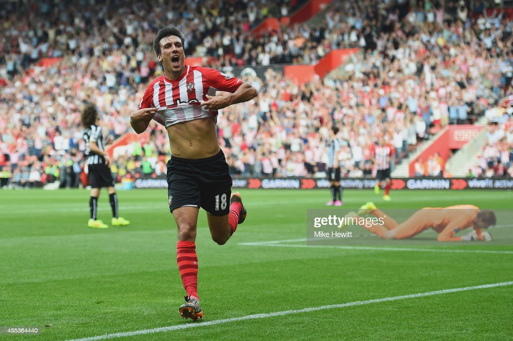 Jack Cork of Southampton celebrates as he scores their third goal during the Barclays Premier League match between Southampton and Newcastle United...