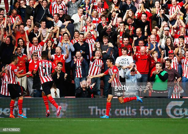 Jack Cork of Southampton celebrates as he scores their third goal during the Barclays Premier League match between Southampton and Sunderland at St...