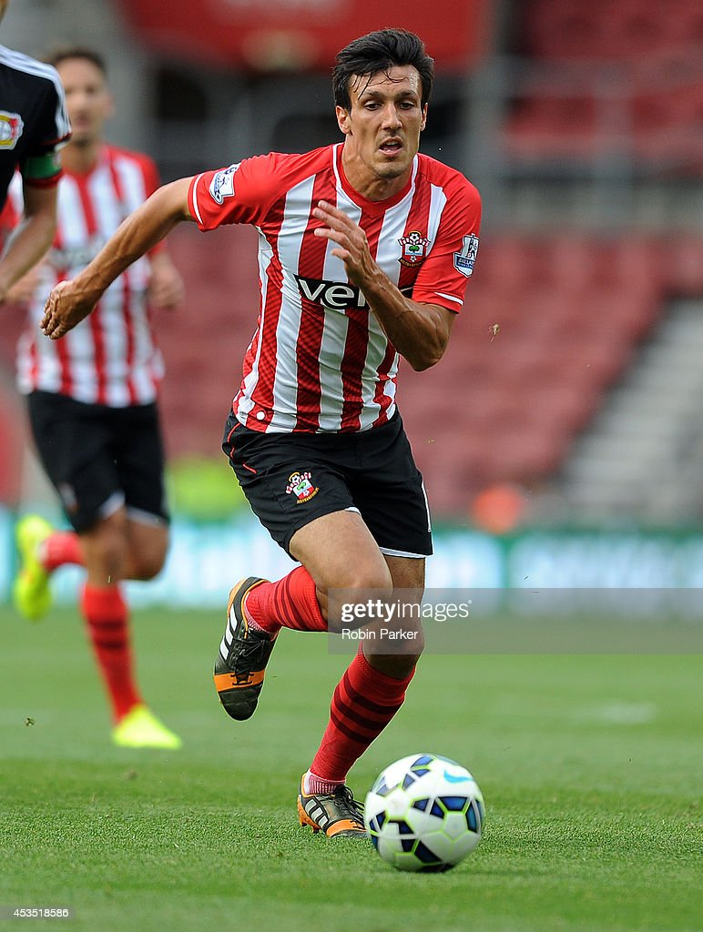 <a gi-track='captionPersonalityLinkClicked' href=/galleries/search?phrase=Jack+Cork&family=editorial&specificpeople=4206991 ng-click='$event.stopPropagation()'>Jack Cork</a> of Southampton during the pre season friendly match between Southampton and Bayer Leverkusen at St Mary's Stadium on August 9, 2014 in Southampton, England.