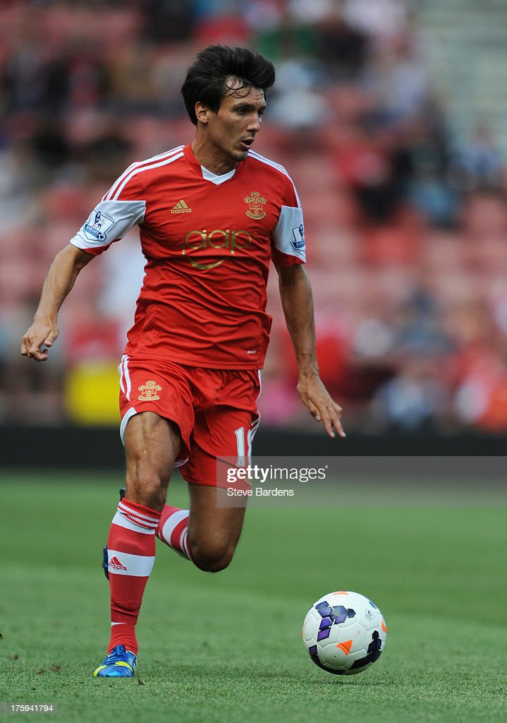<a gi-track='captionPersonalityLinkClicked' href=/galleries/search?phrase=Jack+Cork&family=editorial&specificpeople=4206991 ng-click='$event.stopPropagation()'>Jack Cork</a> of Southampton in action during the pre season friendly match between Southampton and Real Sociedad at St Mary's Stadium on August 10, 2013 in Southampton, England.