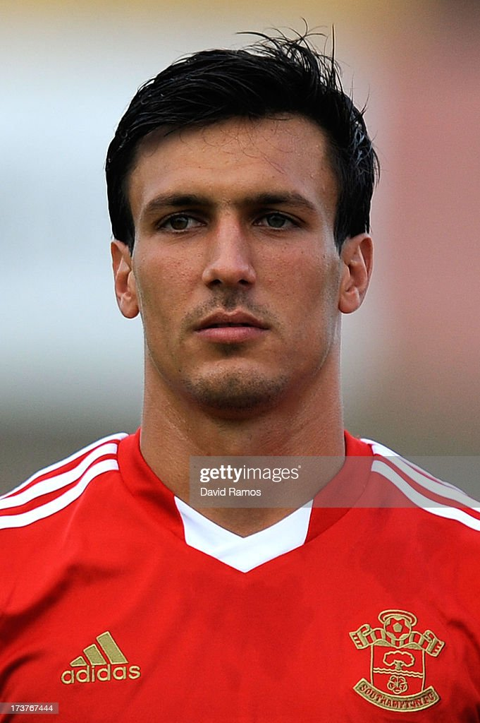 <a gi-track='captionPersonalityLinkClicked' href=/galleries/search?phrase=Jack+Cork&family=editorial&specificpeople=4206991 ng-click='$event.stopPropagation()'>Jack Cork</a> of Southampton looks on during a friendly match between Southampton FC and UE Llagostera at the Josep Pla i Arbones Stadium on July 17, 2013 in Girona, Spain.