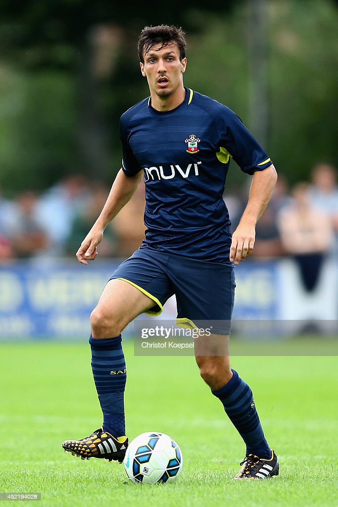 <a gi-track='captionPersonalityLinkClicked' href=/galleries/search?phrase=Jack+Cork&family=editorial&specificpeople=4206991 ng-click='$event.stopPropagation()'>Jack Cork</a> of Southampton runs with the ball during the pre season friendly match between EHC Hoensbroek and Southampton at Sportpark De Dem on July 15, 2014 in Hoensbroek, Netherlands.