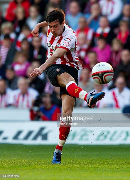 Jack Cork of Southampton takes a shot on goal during the npower Championship match between Southampton and Barnsley at St Mary's Stadium on March 10...